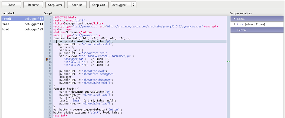 Remote Debugger in Firefox